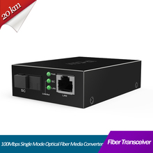 1 Pair 10/100Mbps Fast Media Ethernet Converter Single-mode SC Fiber up to 20KM FTTH Optic Transceiver