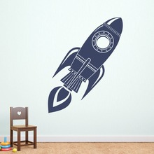 Rocket Wall Decal Silhouette Art Mural Boys Bedroom Bedding Decor Doodle Vinyl Space Removable Interior DIY Wall Stickers SYY302