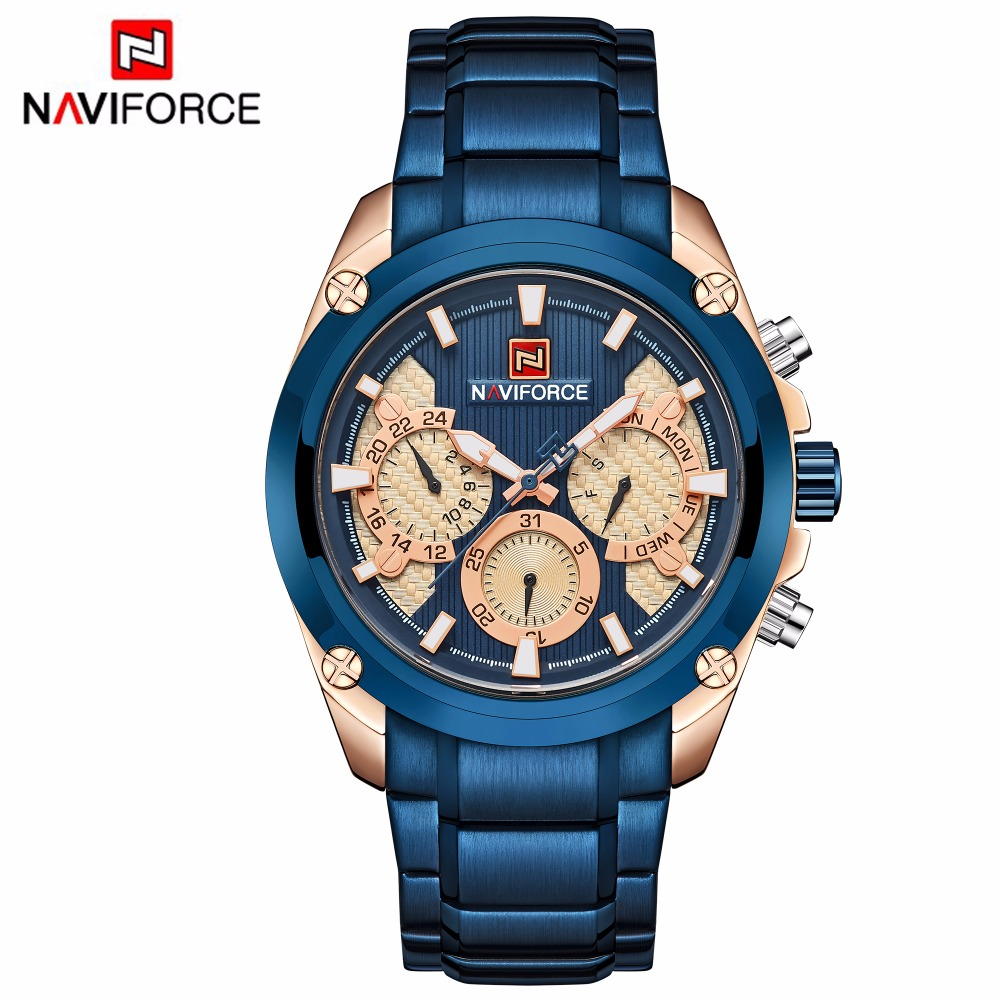 Top Brand Luxury NAVIFORCE Blue Gold Watch Men Fashion Sport Quartz Mens Watches Full Steel Waterproof Watch Relogio Masculino цены