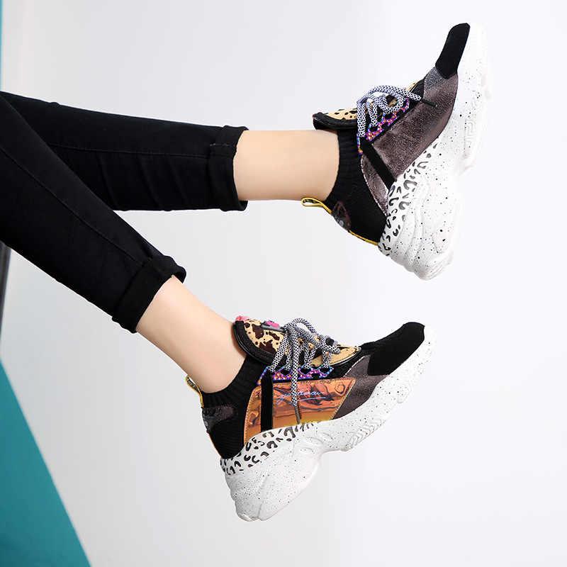 หนังแท้ 2019 tie หนา soled รองเท้าเสือดาว illusion รองเท้าแฟชั่นรองเท้าผู้หญิงรองเท้า