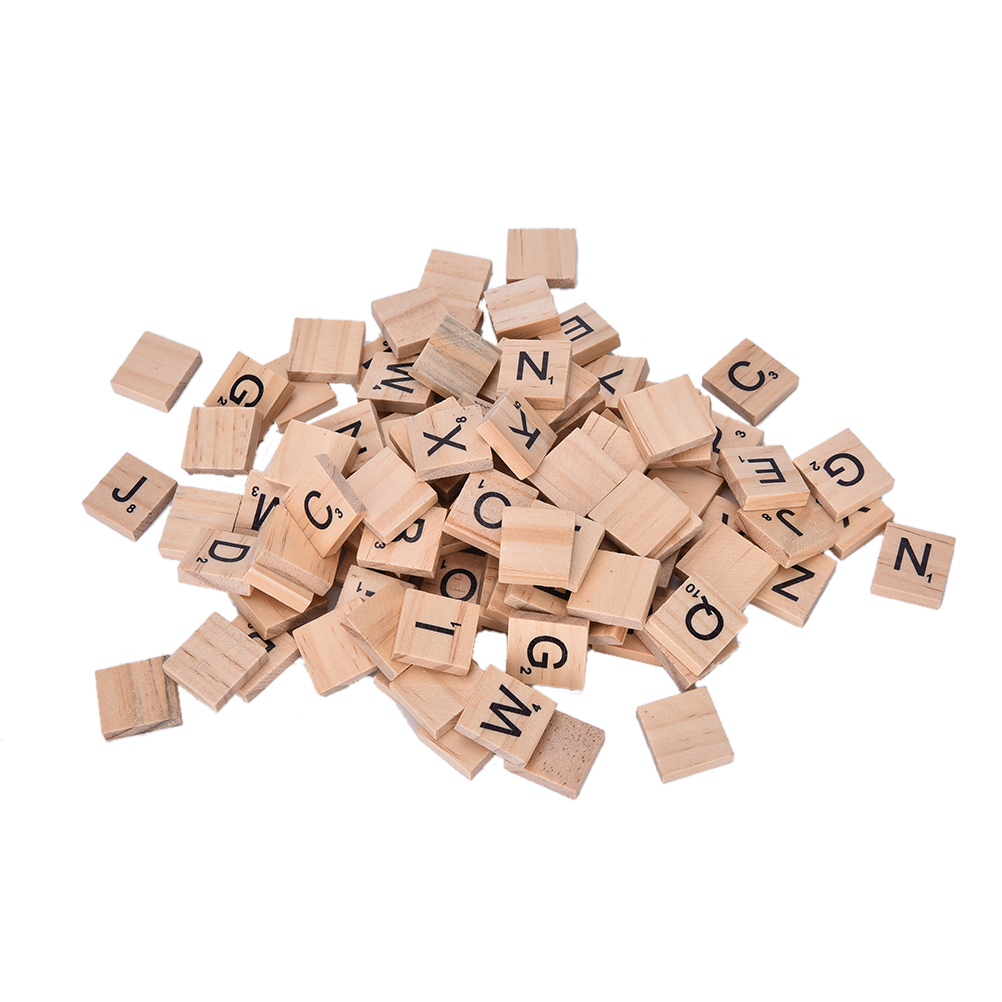 DIY 100Pcs Vintage Wooden Alphabet Scrabble Tiles Black Letters Numbers For Crafts Wood Board Games Crafts Game Toy