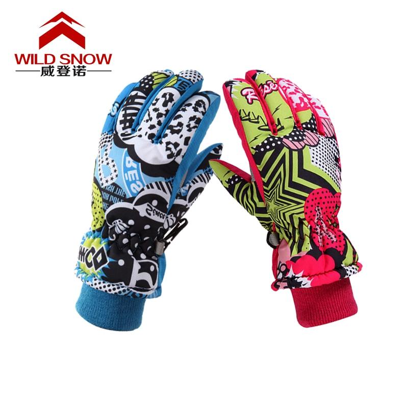 4-12 years old children blue pink cartoon ski gloves elementary student fingered riding snowboarding skiing gloves sports glove