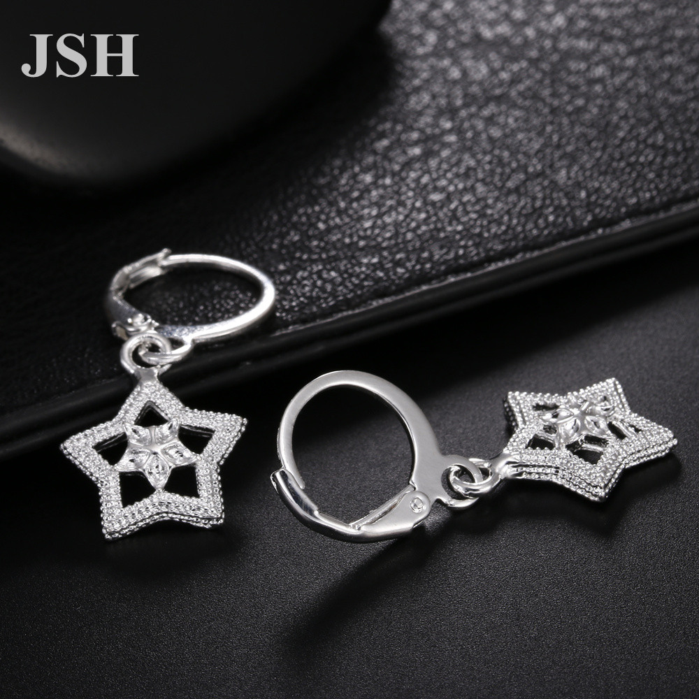 wholesale , For Lady women silver color earrings charms Hoop wedding hook CUTE Bohemia fashion classic jewelry JSHLE044 4