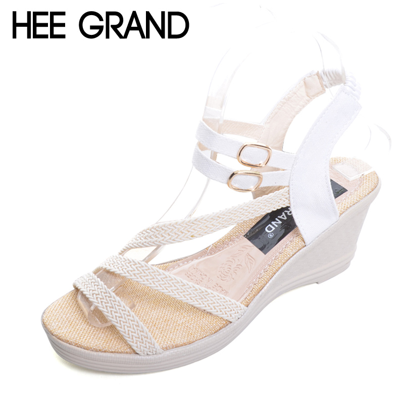 HEE GRAND Platform Gladiator Sandals 2017 Casual Wedges Sandals Summer Slip On Shoes Woman Plus Size 35-41 Creepers XWZ3548 chnhira 2017 suede gladiator sandals platform wedges summer creepers casual buckle shoes woman sexy fashion high heels ch406