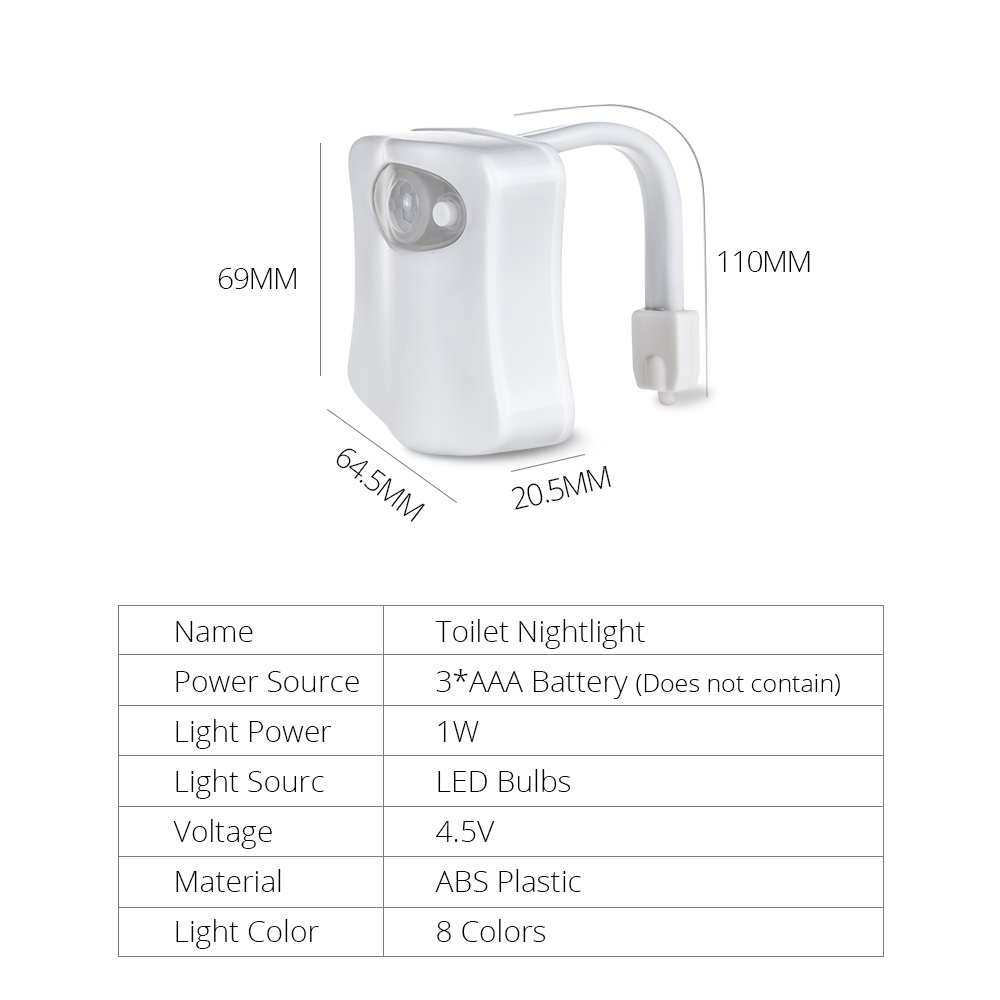 8 Colors Led Wc Toilet Seat Lamp With Pir Motion Sensor Auto Off On Power Source Smart Night Light Aaa Battery Operated Backlight In Lights From