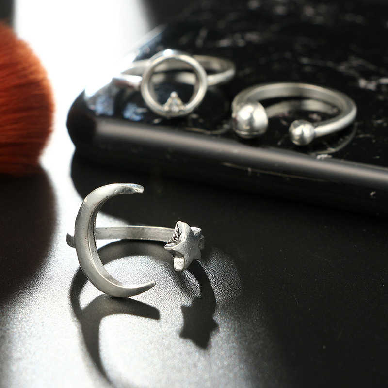 MYHFKK4 peças/conjunto de elementos geométricos retro boêmio deixa ocos simples conjunto de anel de prata feminino presente de aniversário JZ004