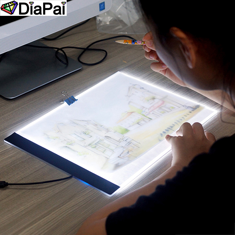 DIAPAI Ultrathin 3.5mm <font><b>A4</b></font> <font><b>LED</b></font> <font><b>Light</b></font> <font><b>Tablet</b></font> <font><b>Pad</b></font> Apply to EU/UK/AU/US/USB Plug Diamond Embroidery Diamond Painting Cross Stitch image