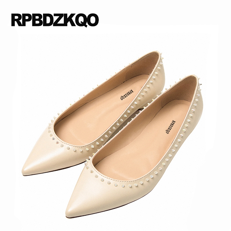 Drop Shipping Flats Nude Pointed Toe Shallow Slip On 2017 Cheap Women Ladies Stud Beautiful Shoes Casual 5 Rivet Spring Autumn 2017 summer new fashion sexy lace ladies flats shoes womens pointed toe shallow flats shoes black slip on casual loafers t033109