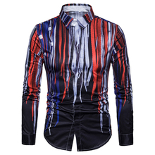 2019 brand new color striped print dress shirts men good quality slim fit casual shirt men casual striped color block dress