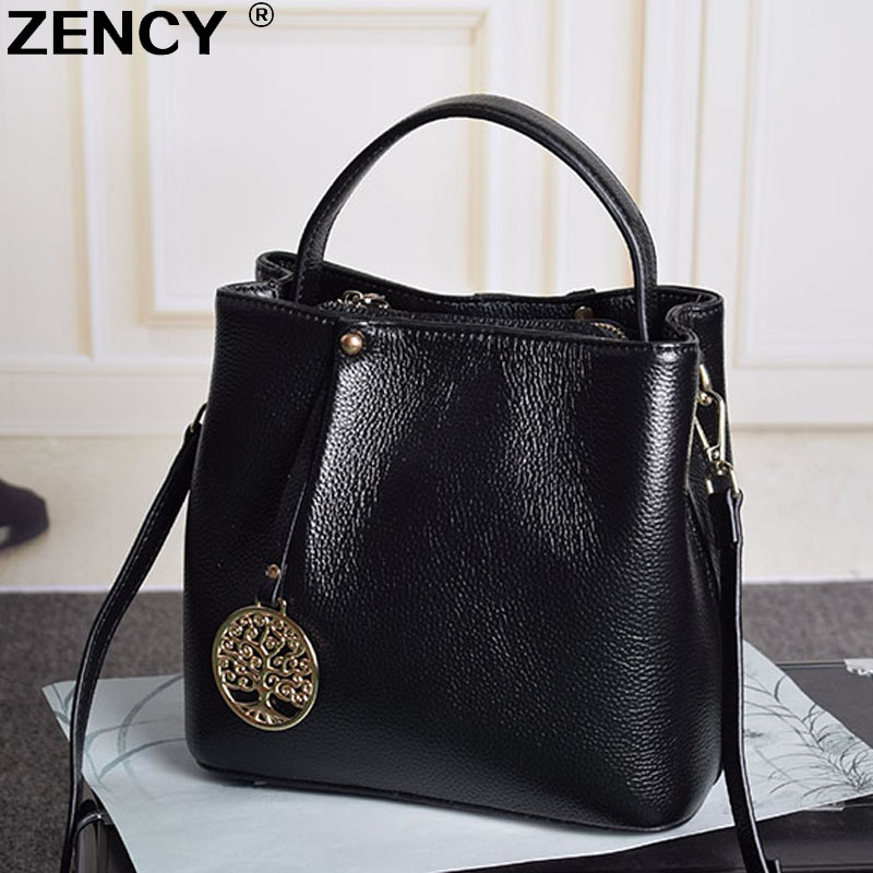 2017 100% Natural Genuine Leather Small Women Tote Bucket Female Famous Brands Handbag Woman Shoulder Messenger Bag Designer chispaulo women genuine leather handbags cowhide patent famous brands designer handbags high quality tote bag bolsa tassel c165
