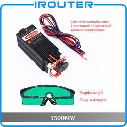 5,5 Вт 450нм синий лазерный модуль, лазерная гравировка деталей машин, лазерная резка ttl Модуль 5500 мВт лазерная трубка