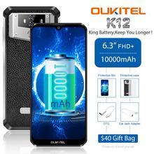 Oukitel k12 smartphone, 6gb ram, 64gb rom, 10000mah, tela de 6.3 waterdrop, face id, 5v/6a carga rápida otg nfc telemóvel