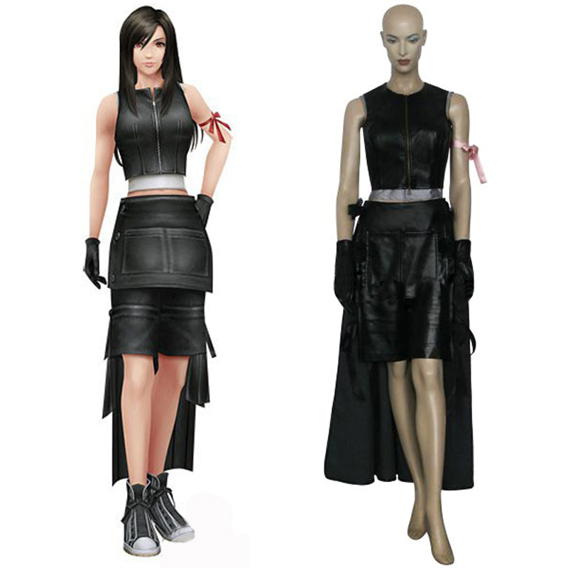 Free Shipping Final Fantasy VII 7 Tifa Lockhart Cosplay Battle Uniform Suit Women's Halloween Costumes Custom Size