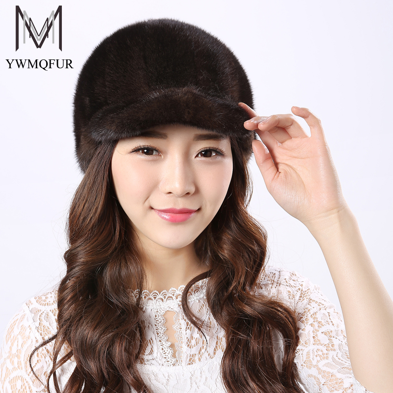 YWMQFUR Real Mink Fur Hats Women Natural Mink Fur Cap 2017 New Style Good Quality Famle Fur Caps  Russia Hot Winter Hat H24