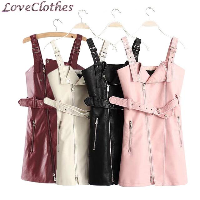 New Fashion PU Leather Dress Womens Mini Sexy Strap Dress Sash Zipper Winter Black Sundress Vestidos Backless Gothic Dress 2019