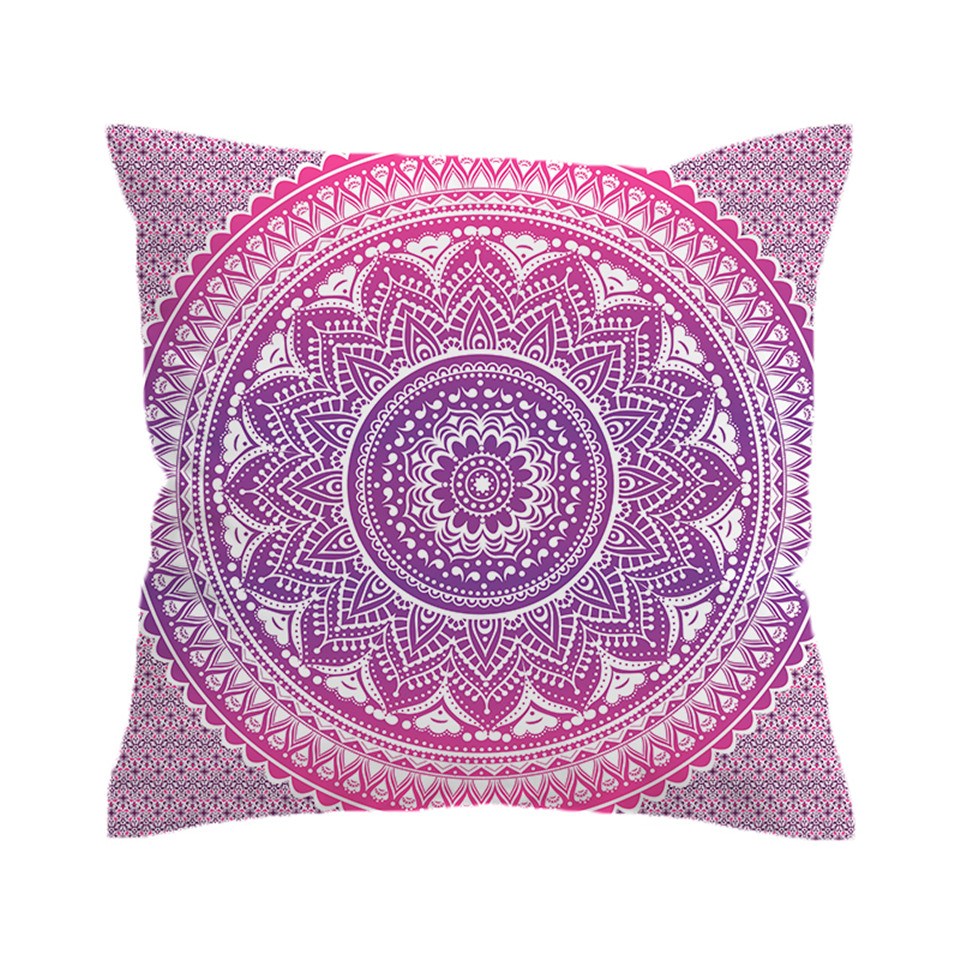 Beddingoutlet Pink Mandala Flower Cushion Cover Pillow Case Bohemian