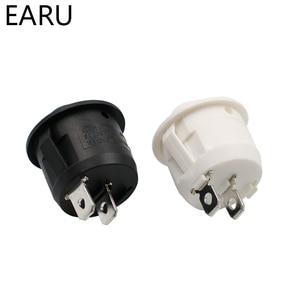 Image 2 - 10 pces ac 6a 10a 250v on off snap spst barco redondo interruptor de balancim preto 2pin interruptor de alimentação interruptor de botão preto branco fábrica