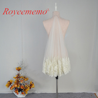 White Ivory Best Selling Good Quality Luxurious Beading 2 Layers Lace Wedding Veil With Comb Velos