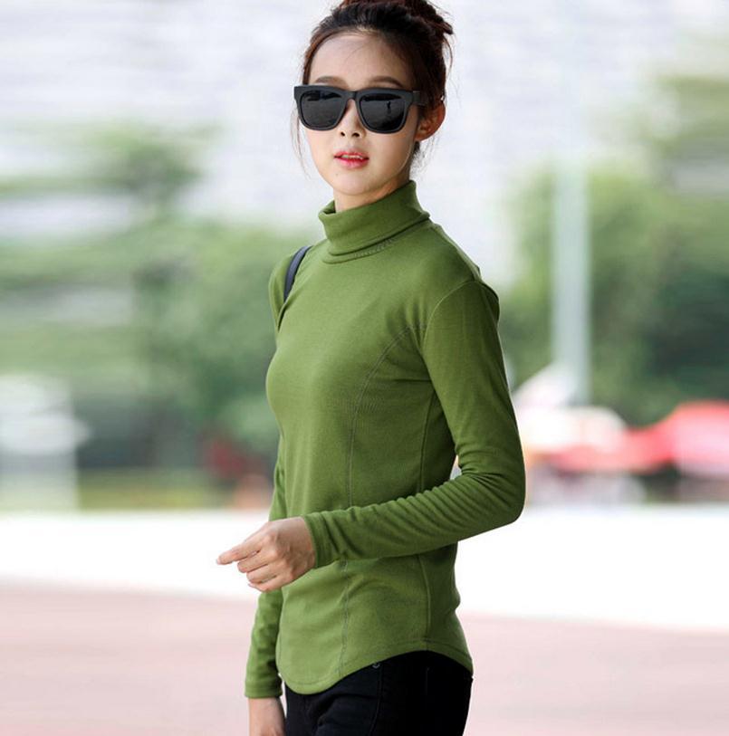 51619de078792 Bahar sonbahar balıkçı yaka yaka gömlek kadın uzun kollu kazak Artı Boyutu  4XL Düz Renk Rahat Giysiler T Shirt Kadın