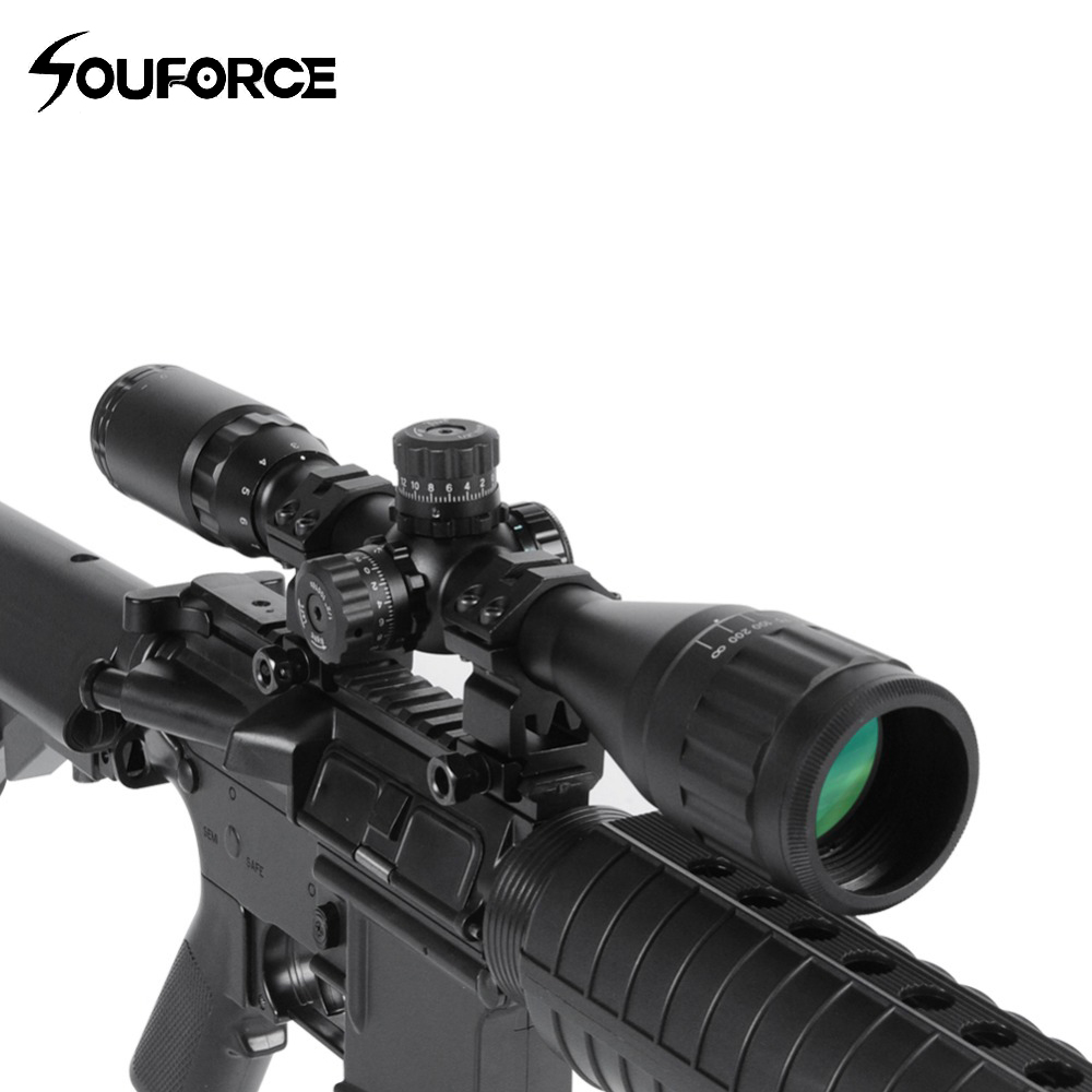 3 12X40AOL Tactical Optical Sight Riflescope Red Green Blue Illuminated Reticle Compact Tube for Sniper Rifle