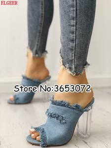 295c2135838 ELGEER Chunky Heeled Sandals Lady Woman High Heels Shoes