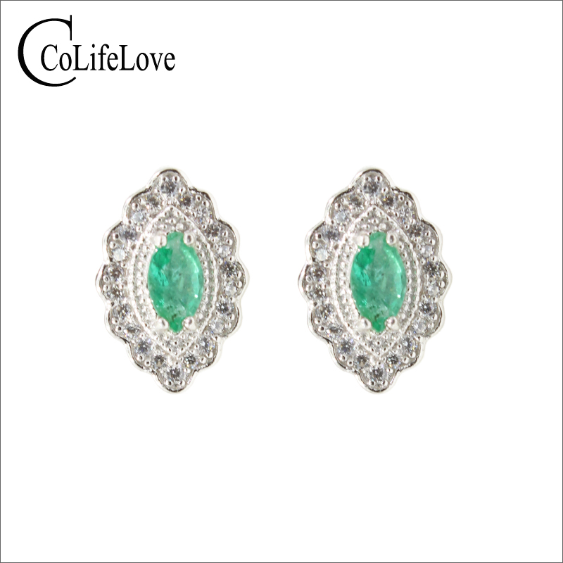 Vintage emerald stud earrings for wedding 3 mm*5 mm natural SI garde emerald earrings solid 925 sterling silver emerald jewelry fashion emerald bracelet for evening party 8 pcs 3 mm 5 mm natural emerald bracelet 925 sterling silver emerald jewelry