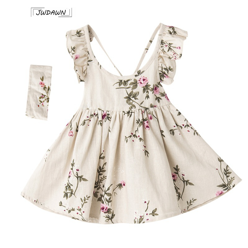 2018 Summer Girls Dress Beach Style Floral Print Party Backless Linen Dresses + Heabands Children Clothing Sleeveless Clothes ...