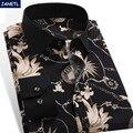 2017 Nuevo Hombre de la Llegada Patrón de la Camisa de Diseño de Flores de Manga Larga imprimir Slim Fit hombre Camisa Casual Hombres de Marca de Moda Vestido camisas