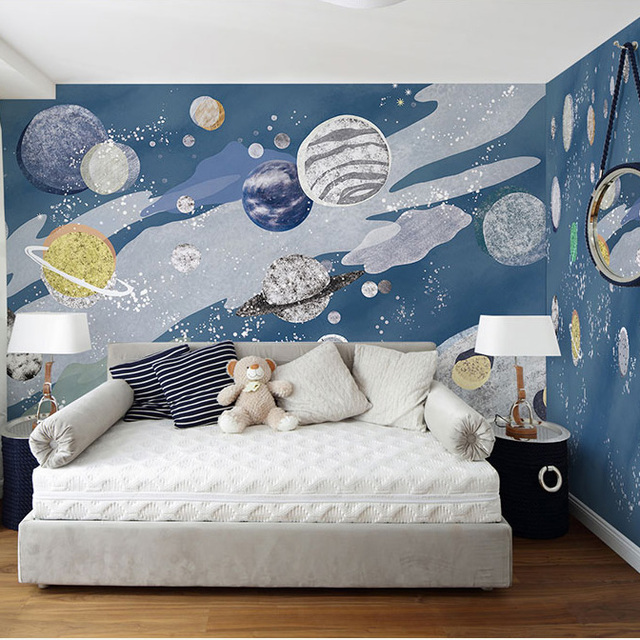 Hand Painting 3d Cartoon Mural Outer Space Universe 3d Wall Photo Murals  Wallpaper For Kids Room Large Papel Mural 3d Wall Mural