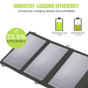 Panel Solar Con Batería   Allpower Cargador De Batería Solar Portátil 5V 15W Dual USB + Tipo C Cargador De Panel Solar Portátil Al Aire Libre Panel Solar Plegable.