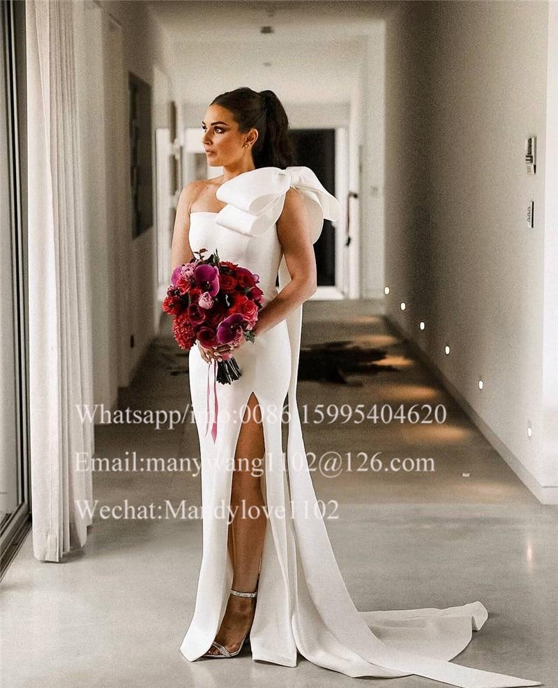 Sexy One Shoulder Mermaid Wedding Dresses 20 With Bow Side Split White  Bridal Gowns Bohemia Boho Bride Dress robe de mariee