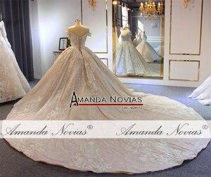 Image 4 - 럭셔리 구슬 웨딩 드레스 어깨 긴 기차 2020 새로운 신부 드레스 novias