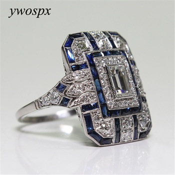 YWOSPX Luxury Silver Big Square Rings  Jewelry Wedding Crystal Zircon Anel Engagement