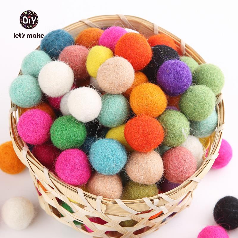 Let's Make Felt Balls Beads 200pcs/lot Wool Felt Ball 20MM Multicolors Flocking Ball Wool Balls Jewelry Assorted Beads