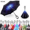 Windproof Reverse Folding Double Layer Inverted Umbrella Self Stand Umbrella Rain Sun Women Men High Quality