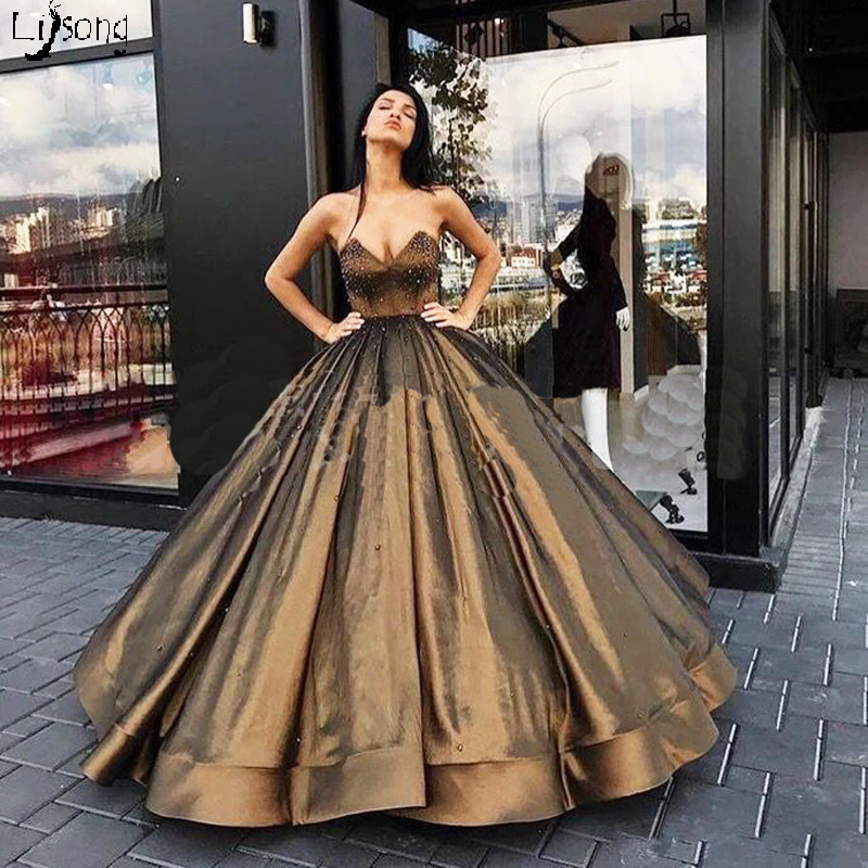 Simple Puffy Sequins Metal Color   Evening     Dress   Ball Gowns Strapless Lace Up Vintage Formal Maxi Gown Vestido Noiva Long   Dresses