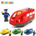 Edwone 11*5.5 cm 4 colores los niños del tren eléctrico ranura diecast toys regalos de cumpleaños para niños juguetes de madera magnéticas electrónico vehículo de juguete