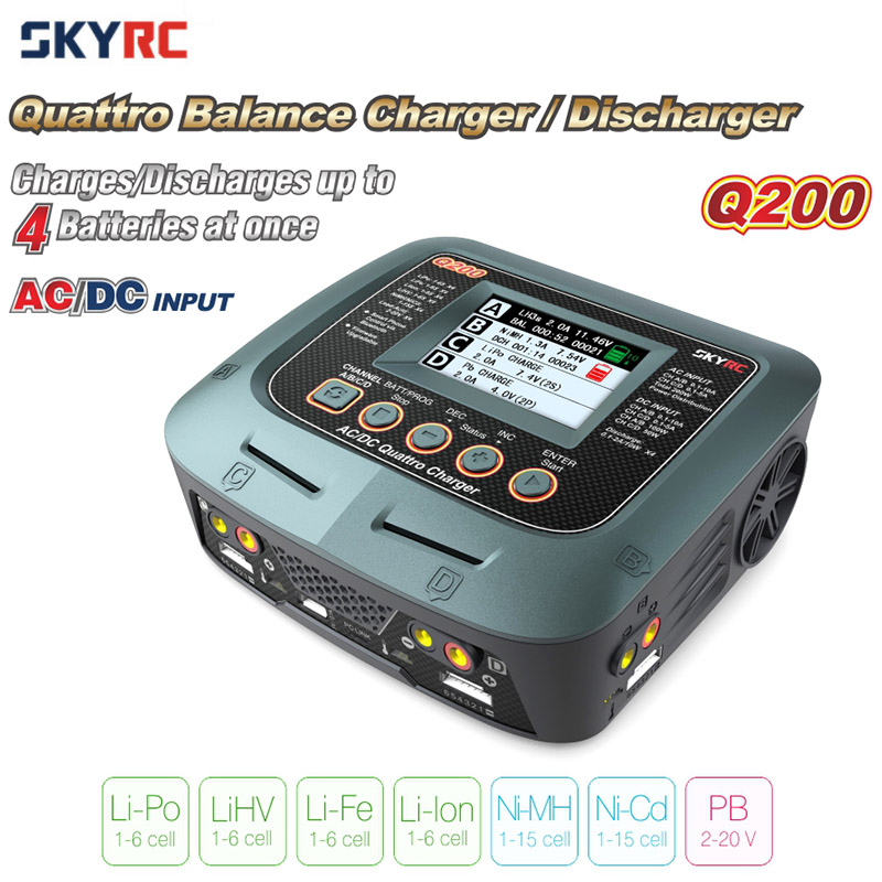 Original SKYRC Q200 1 to 4 Intelligent Charger Discharger AC DC for RC Drone Car Boat