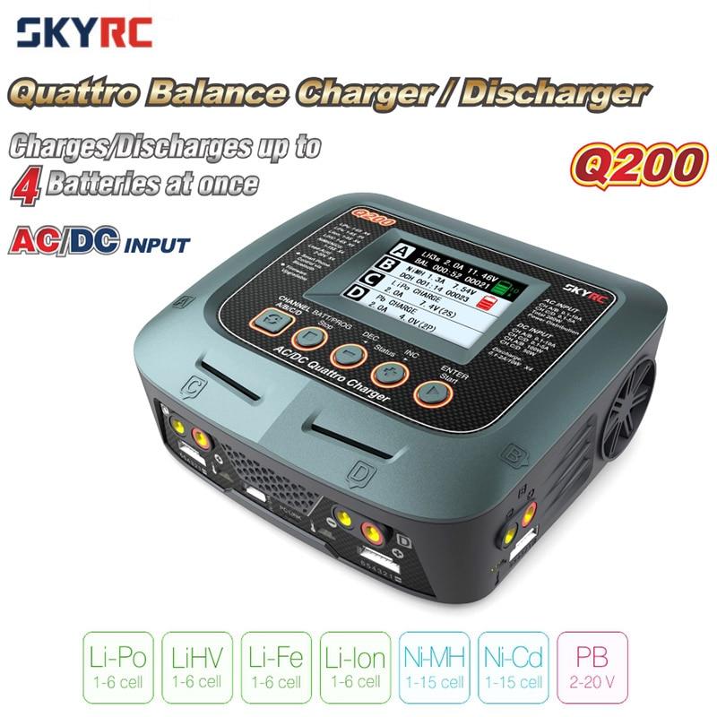 Original SKYRC Q200 1 ถึง 4 เครื่องชาร์จอัจฉริยะ Discharger AC/DC สำหรับ RC Drone รถเรือ Lipo LiHV LiFe li ion NiMH NiCD PB แบตเตอรี่-ใน ชิ้นส่วนและอุปกรณ์เสริม จาก ของเล่นและงานอดิเรก บน   1