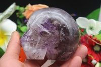 Natural Quartz Crystal Purple Stone Carving UFO Skull To Heal