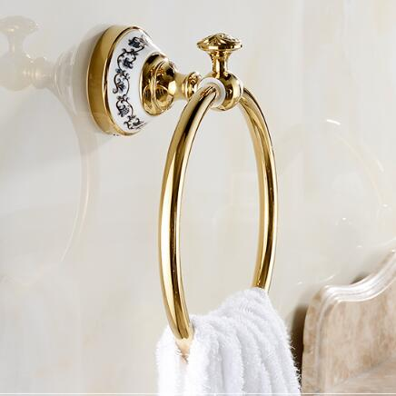 Luxury Brass Gold Towel Ring,Classic Towel Holder, Towel Bar Bathroom Accessories home decoration useful Free Shipping luxury brass gold towel ring towel holder towel bar bathroom accessories free shipping