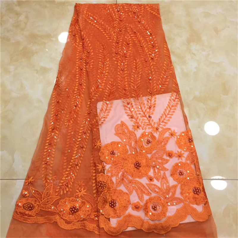 2018 Nigerian Tulle Lace Fabric Fast Sequins Shipping African Lace Fabric For Wedding Red Embroidery green