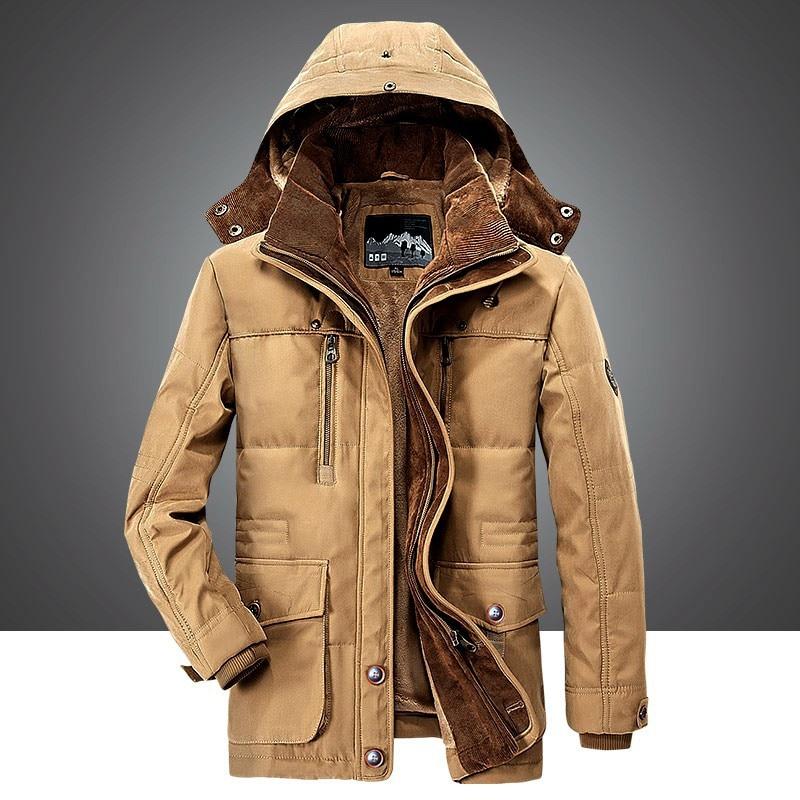 6XL Winter Jacket Middle Age Men Plus Thjck Warm Coat Jacket Men 'S Casual Hooded Coat Jacket Size  Winter Cross-Borde