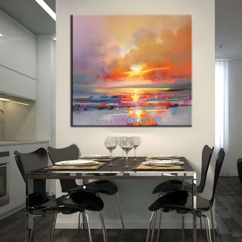 Wholesale Handmade Abstract Landscape Beautiful Colors Morning Sky Oil  Painting Landscape For Living Room Decoration Art