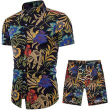 Summer Folk Style Fashion Floral Shirt Men's Sets Casual Shirts Suits Tops with Short Short Sleeve Single Breasted Suit 5XL