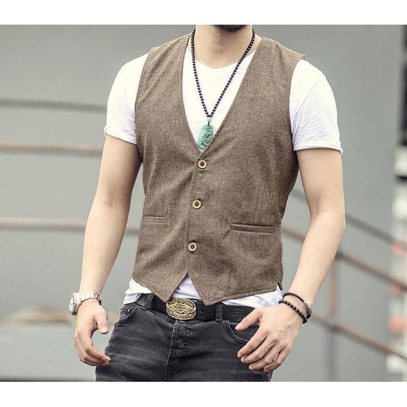 2018 Men Linen Cotton Vest Men Dress Suit Vest Men Cotton Linen Vest Suit Gilet Vest Slim Business Jacket Tops