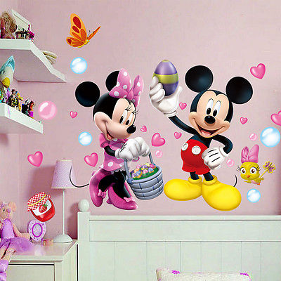 cute mickey minnie mouse wall stickers vinyl decals kids nursery baby room decor in wall. Black Bedroom Furniture Sets. Home Design Ideas