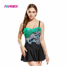 Faerdasi New Women Dress Bathing Suit Plus Size One Piece Beachwear Retro Vintage Swimsuit S-3XL Swimwear Bandage Swimming Suit 2018 new plus size plaid skirt bathing suit swimwear sexy women underwire summer swimsuit womens swimming dress beachwear