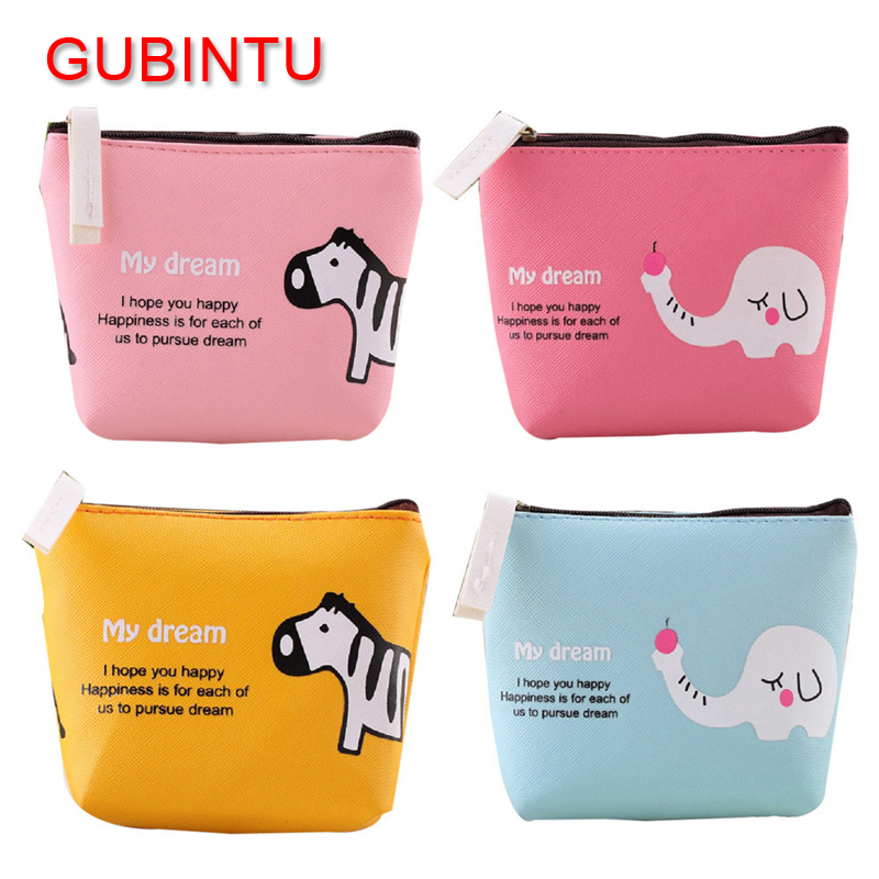 GUBINTU 4 Colors Fashion PU Leather Cartoon Women Wallet Cute Animal Girl Zero Purse Pouch Key Holder Wallet Coin Bag m215 cute cartoon pets akita dog siberian husky personality plush coin purse wallet girl women student gift wholesale