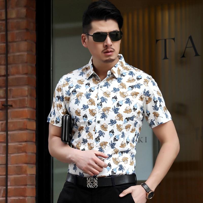 2015 Hot Summer Style Casual Slim Floral Shirts Mens Short Sleeve ...